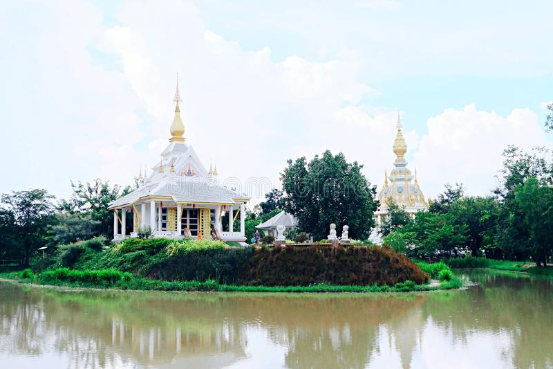 Another perspective of gorgeous temple at Khon Kaen,Thailand. Another building of Wat Toong Set Tee temple at Khon Kaen,Thailand royalty free stock photography
