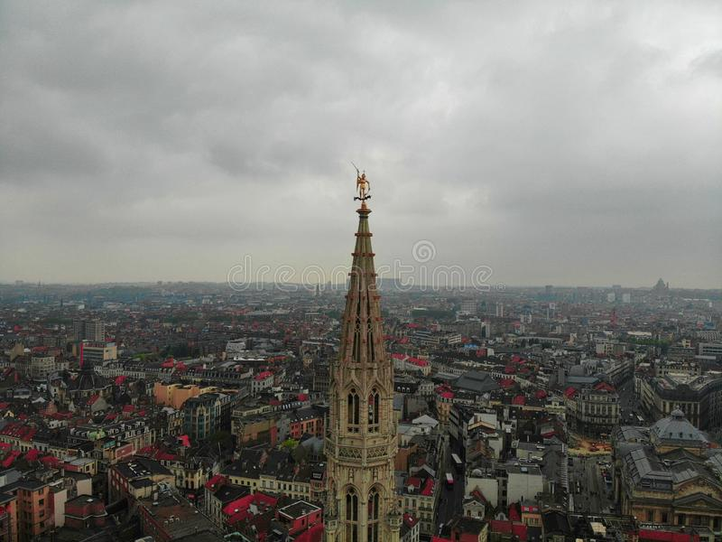 Another point of view in Beautiful city of Brussels. The capital of European Country with great history. Drone photography. stock photography