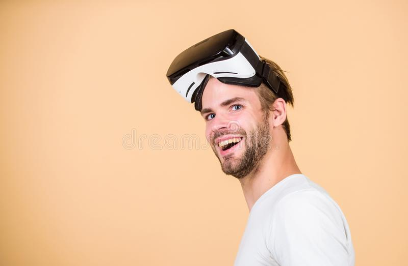 Another reality is here. man wear wireless VR glasses headset. Digital future and innovation. Working on Programing. Virtual reality goggles. Modern business stock photos
