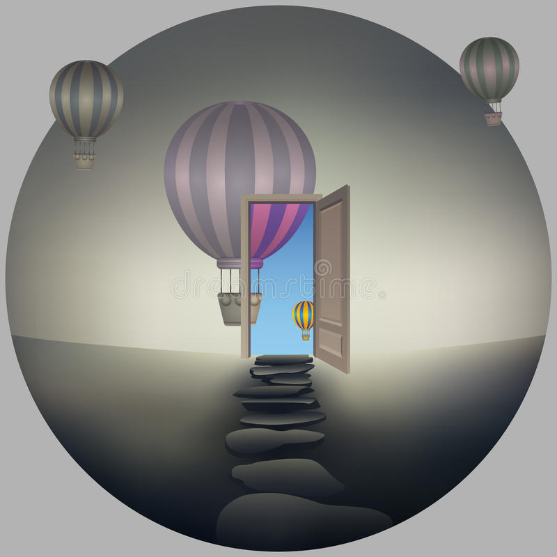 Another Reality Pathway. Pathway of opportunity along a black and white, desaturated world, going to a opened door to another better and colorful life. Road to vector illustration