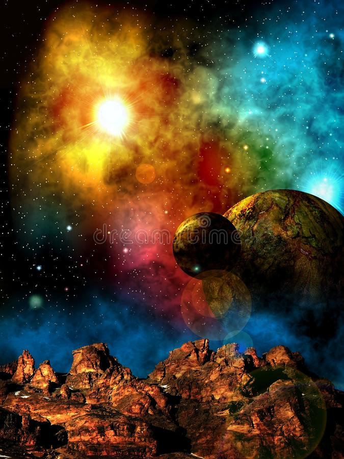 Another`s sky above a strange planet. Deep outer space background with stars and nebula royalty free illustration