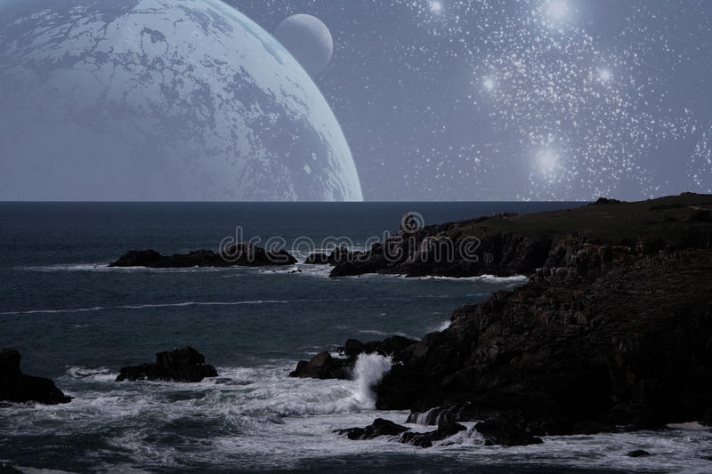 In another world. On another planet, another ocean, another land royalty free stock image