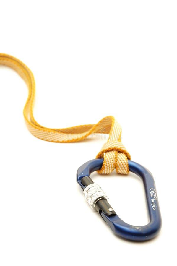anoucarabiners som klättrar utrustning, låser systemet royaltyfri foto
