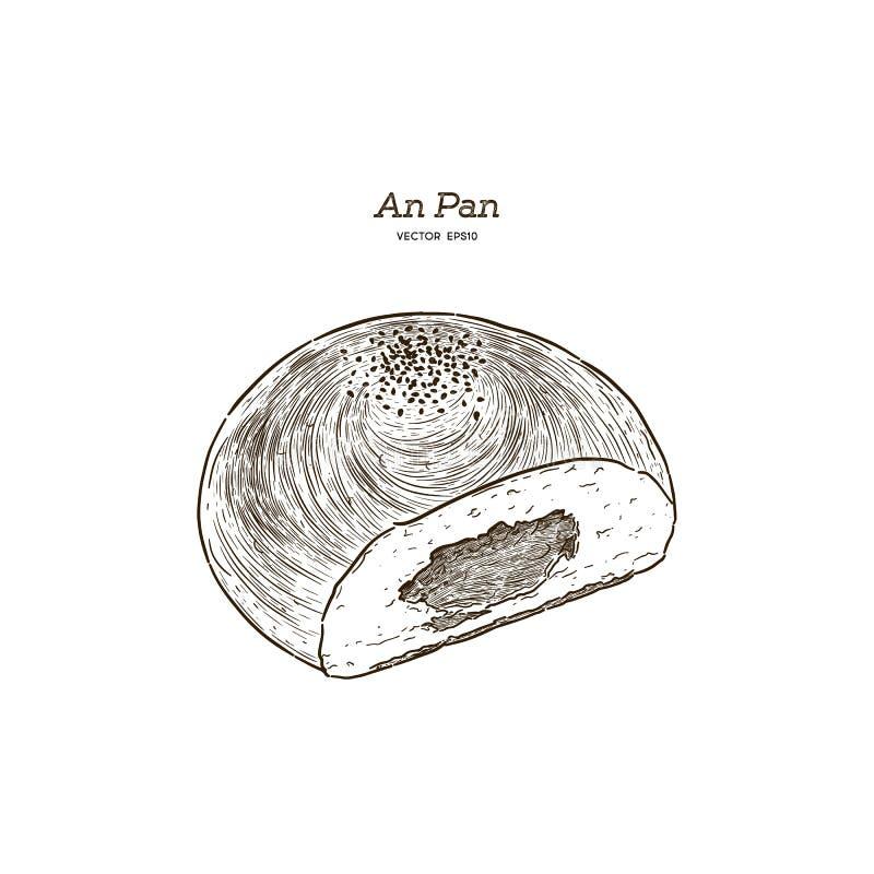 Anpan bröd Vektorteckning av söt bullemat royaltyfri illustrationer