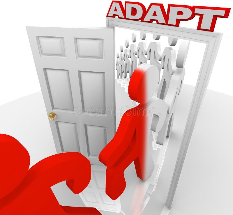 Anpassa folkmars till och med dörröppningen som anpassar för att ändra stock illustrationer