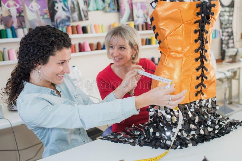 Anpassar den yrkesmässiga kompetenta kvinnlign för stående två arbete royaltyfri fotografi
