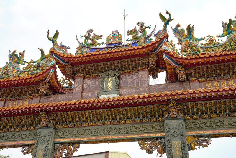 Anping Tianhou tempel, ocks? som ?r bekant som Kaitaien Tianhou eller den Mazu templet i det Anping omr?det av Tainan, Taiwan arkivbilder
