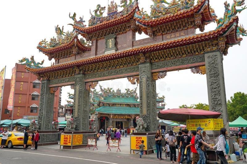 Anping Tianhou tempel, ocks? som ?r bekant som Kaitaien Tianhou eller den Mazu templet i det Anping omr?det av Tainan, Taiwan royaltyfri fotografi