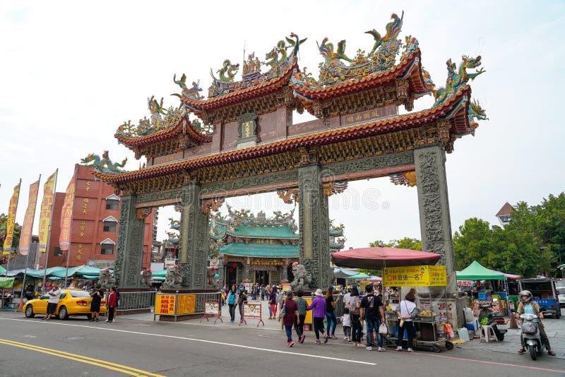 Anping Tianhou tempel, ocks? som ?r bekant som Kaitaien Tianhou eller den Mazu templet i det Anping omr?det av Tainan, Taiwan arkivfoto
