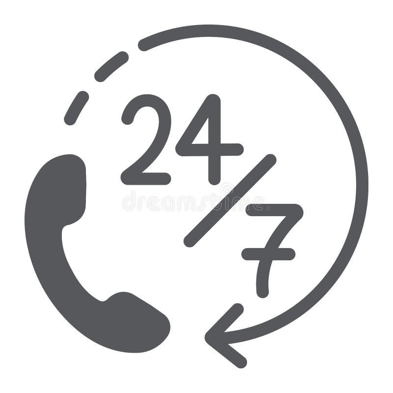 Anruf 24 die Ikone, der Service und die Unterstützung mit 7 Glyph, stützen 24 7 Zeichen, Vektorgrafik, ein festes Muster auf eine lizenzfreie abbildung