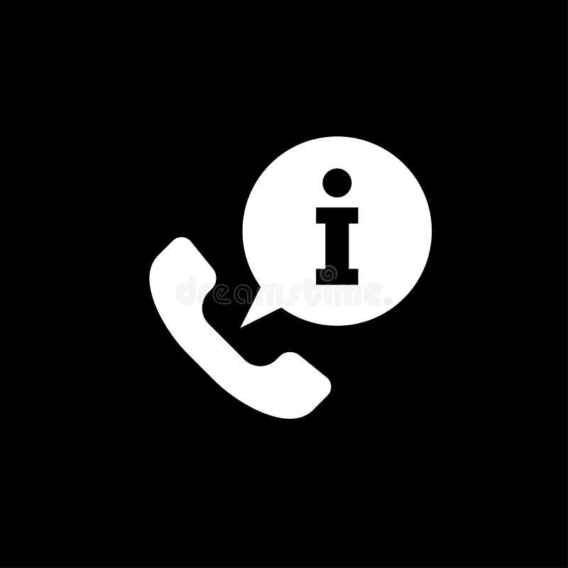 Anruf-Informationsikone lokalisiert auf Hintergrund Ikone der nennenden Informationen einfaches Zeichen stock abbildung