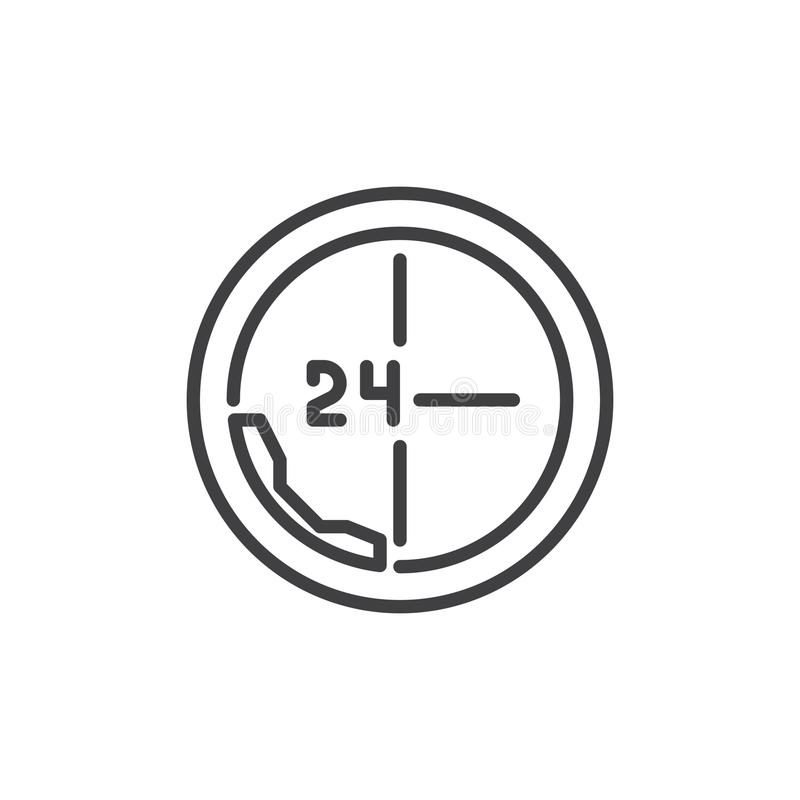 Anruf 24 Stunden der Linie Ikone vektor abbildung