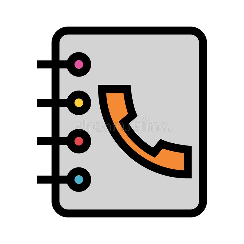 Anrufbuch-Farblinieikone vektor abbildung