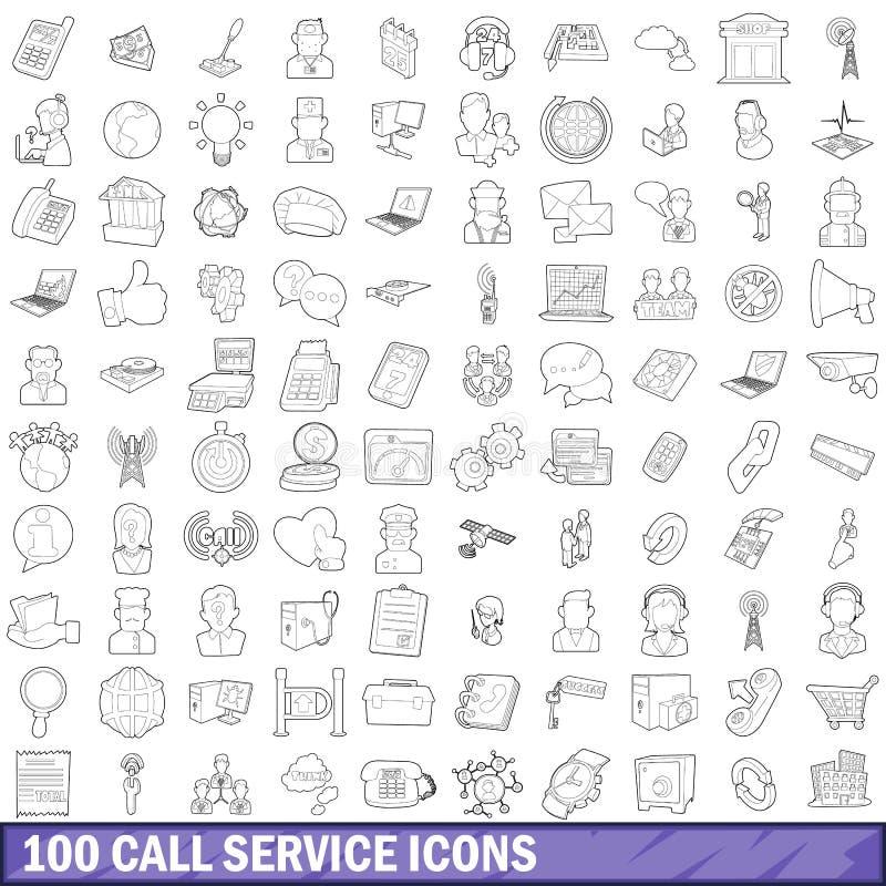 100 Anrufservice-Ikonen eingestellt, Entwurfsart lizenzfreie abbildung