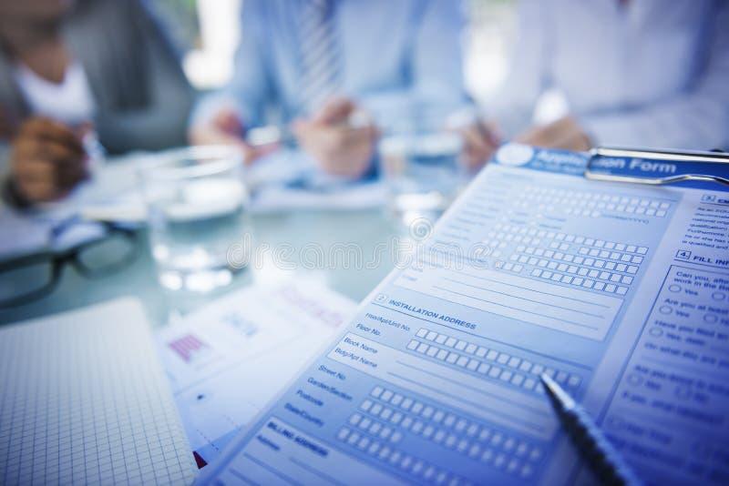 Ansökningsblankett Job Interview Employment Concepts royaltyfri fotografi