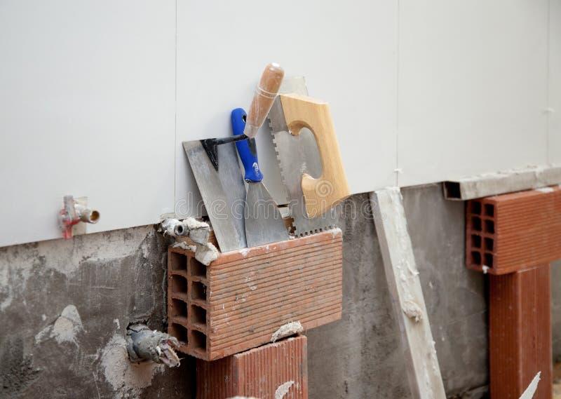 ans建筑刻凹痕了小铲工具修平刀 免版税库存图片
