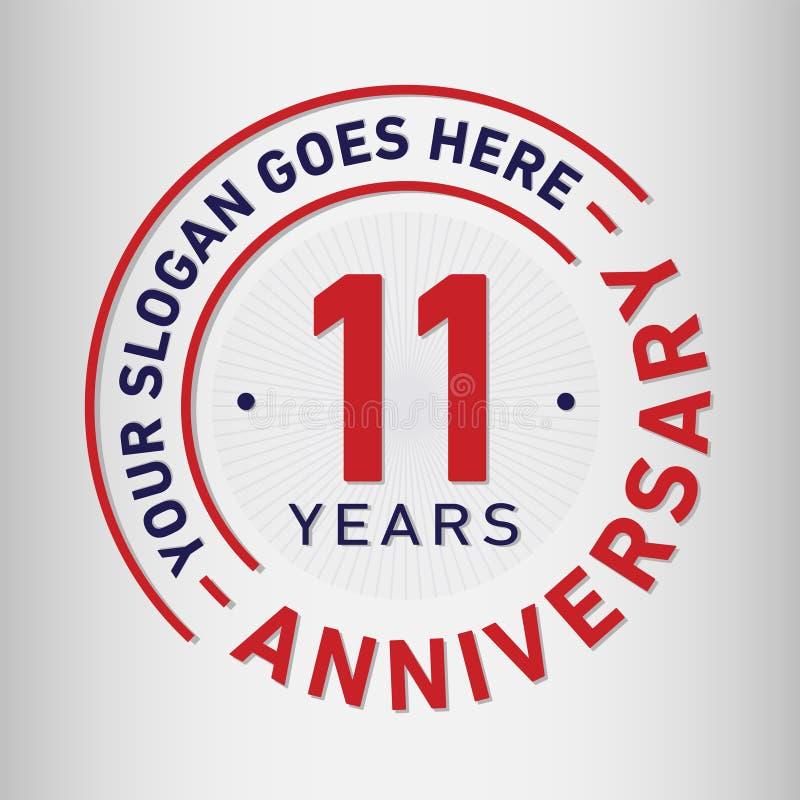 11 ans d'anniversaire de célébration de calibre de conception Vecteur et illustration d'anniversaire Onze ans de logo illustration libre de droits