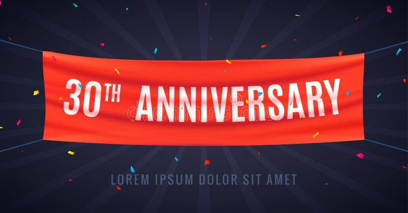 30 ans d'anniversaire de célébration de conception Événement bithday 30ème de partie de décoration d'anniversaire d'alerte illustration libre de droits