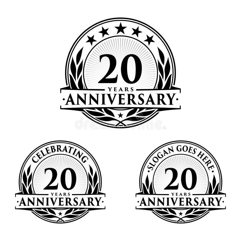 20 ans d'anniversaire de calibre de conception Vecteur et illustration d'anniversaire 20ème logo illustration libre de droits