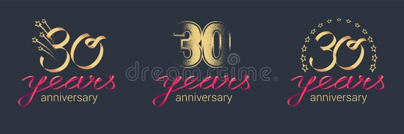 30 ans d'anniversaire d'icône de vecteur, ensemble de logo illustration libre de droits