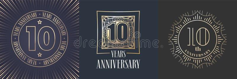 10 ans d'anniversaire d'icône de vecteur, ensemble de logo illustration de vecteur