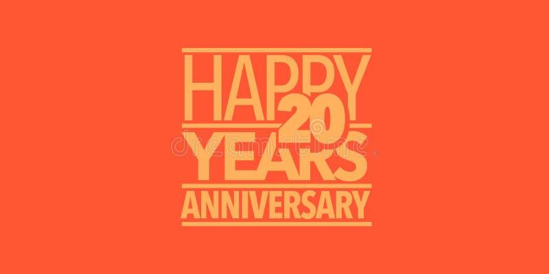 20 ans d'anniversaire d'ic?ne de vecteur, logo, banni?re Élément de conception avec la composition des lettres illustration stock