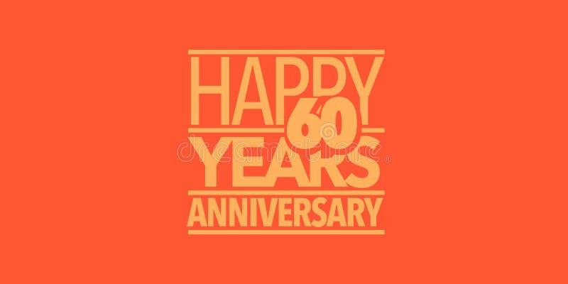 60 ans d'anniversaire d'ic?ne de vecteur, logo, banni?re Élément de conception avec la composition des lettres illustration stock