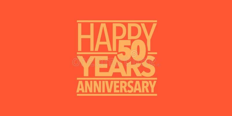 50 ans d'anniversaire d'ic?ne de vecteur, logo, banni?re Élément de conception avec la composition des lettres illustration stock