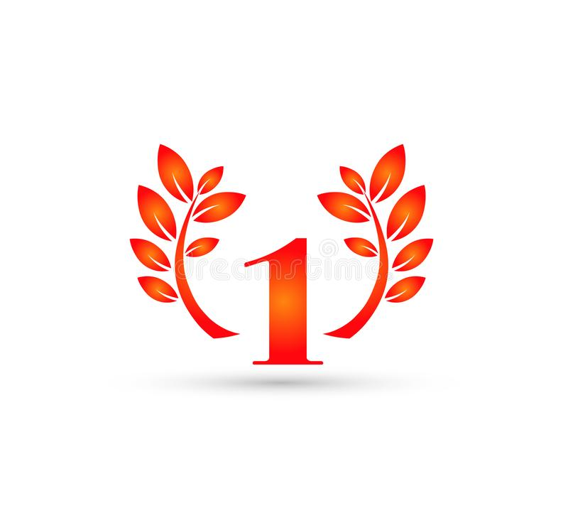 1 ans d'anniversaire d'insigne de logo rouge de feuille illustration de vecteur