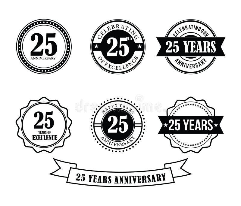 25 ans d'anniversaire d'insigne d'emblème de vecteur de timbre illustration de vecteur
