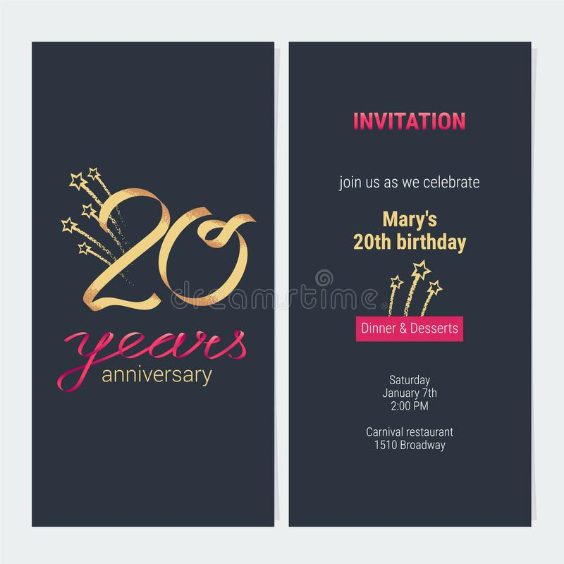 20 ans d'anniversaire d'invitation de vecteur de carte illustration de vecteur