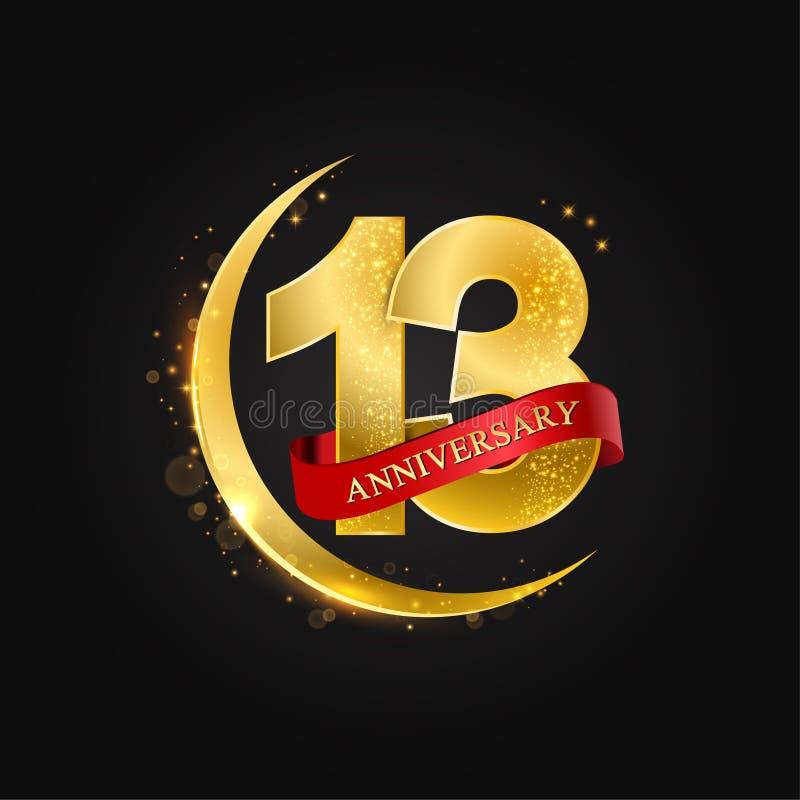 13 ans d'anniversaire Modèle avec la demi-lune arabe d'or, d'or et le scintillement illustration stock
