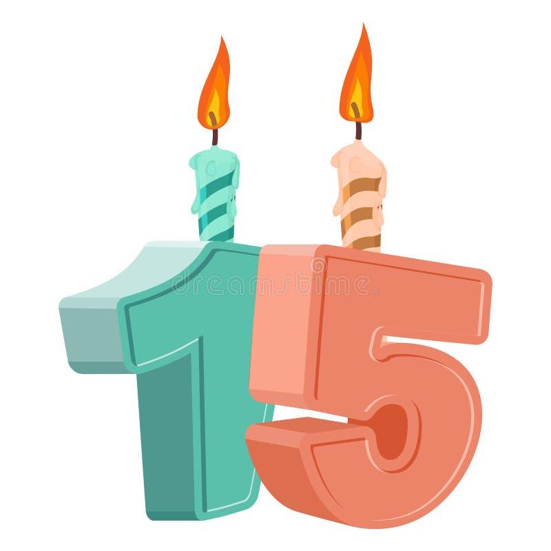 Assez 15 Ans D'anniversaire Nombre Avec La Bougie De Fête Pour Le Gâteau  KZ13