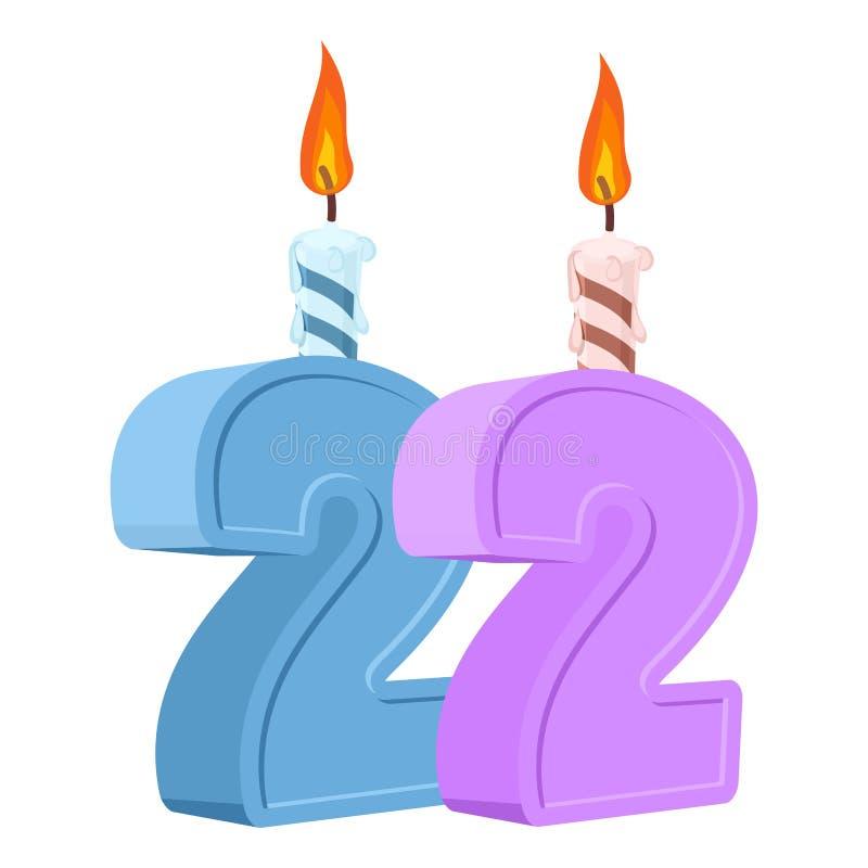 22 ans d'anniversaire Nombre avec la bougie de fête pour le gâteau de vacances illustration libre de droits