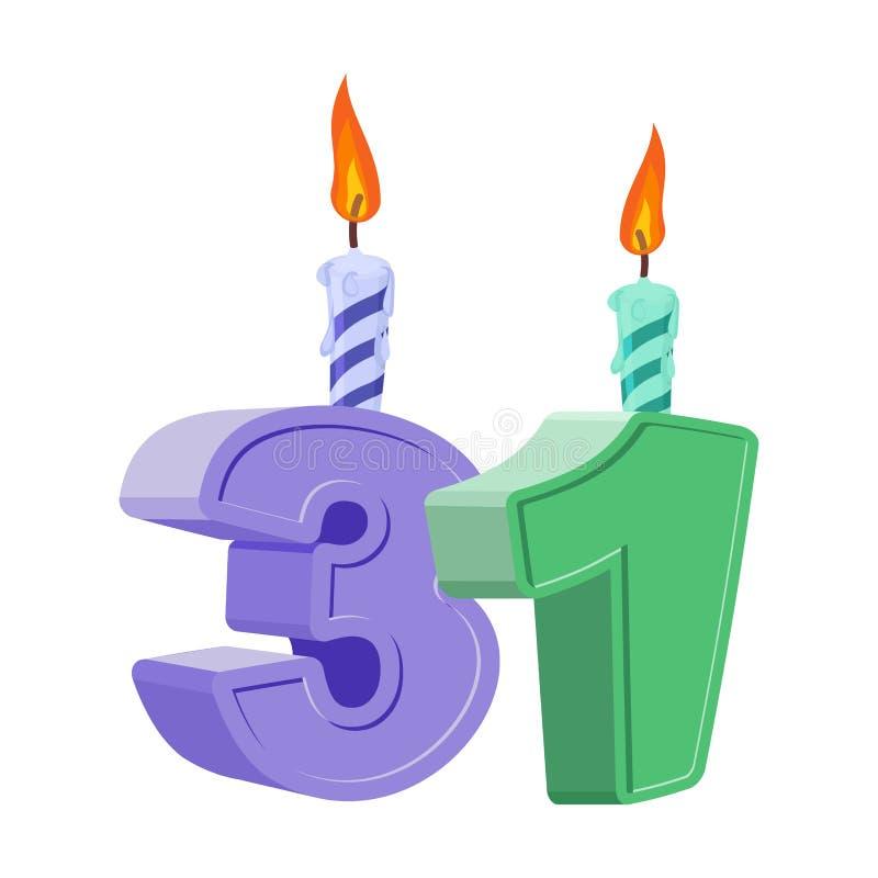 31 ans d'anniversaire Nombre avec la bougie de fête pour le gâteau de vacances illustration de vecteur