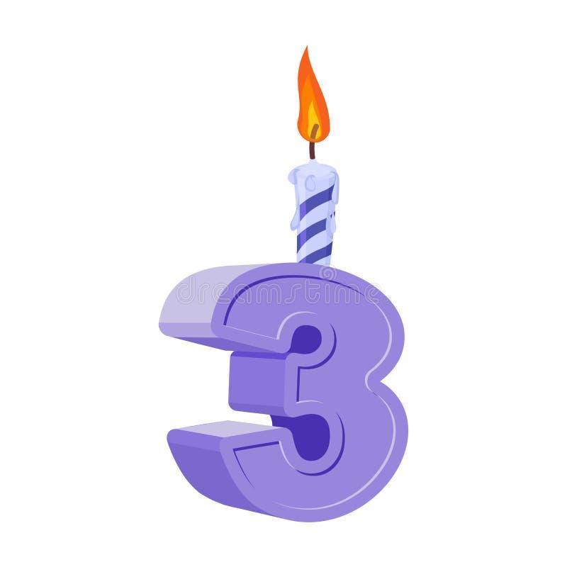 3 ans d 39 anniversaire nombre avec la bougie de f te pour le g teau de vacances t illustration de - Gateau d anniversaire 3 ans ...