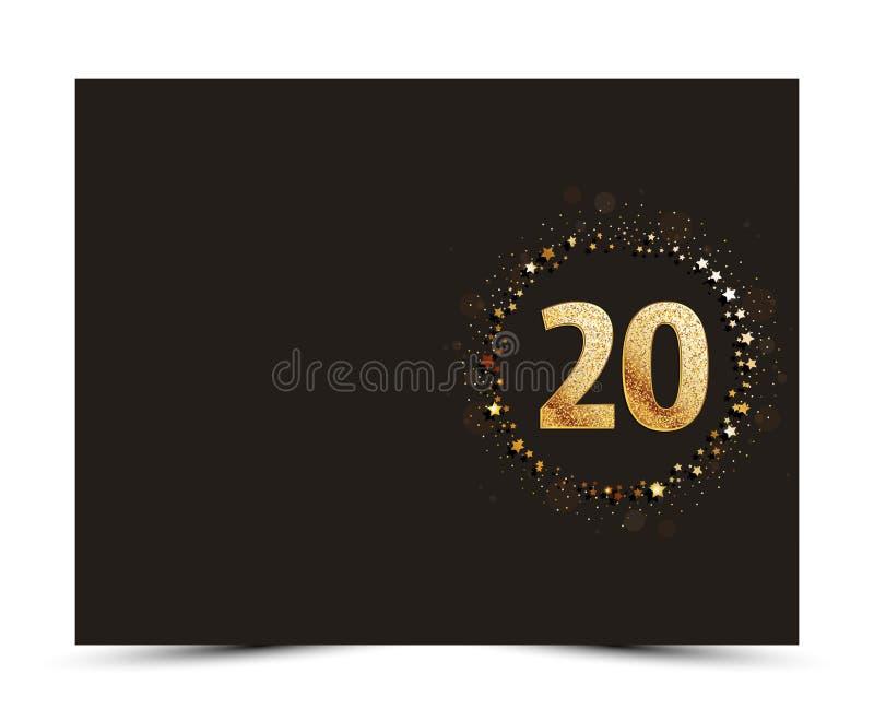 20 ans d'anniversaire ont décoré le calibre de carte de salutation/invitation avec des éléments d'or illustration stock