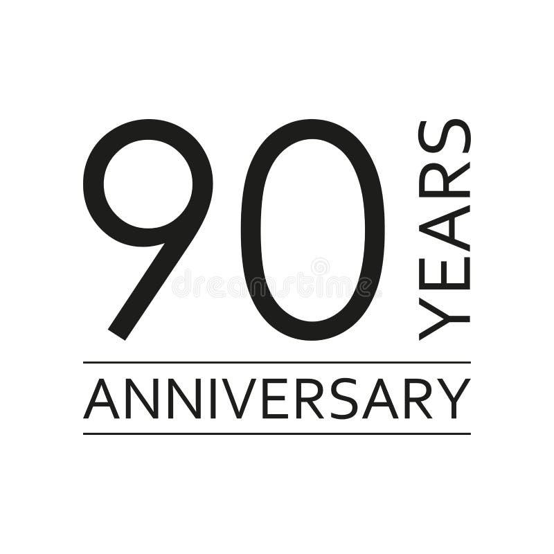 90 ans d'emblème d'anniversaire Icône ou label d'anniversaire 90 ans élément de conception de célébration et de félicitation Vect illustration de vecteur