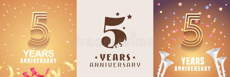 5 ans d'ensemble d'anniversaire d'icône de vecteur, symbole Élément de conception graphique illustration stock