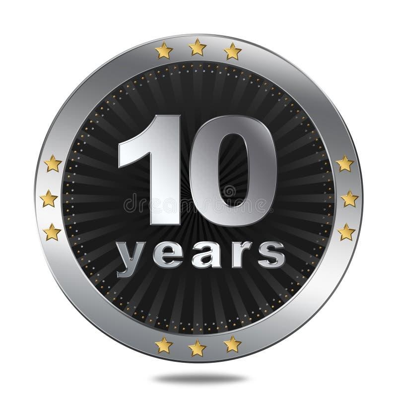 10 ans d'insigne d'anniversaire - couleur argentée illustration stock