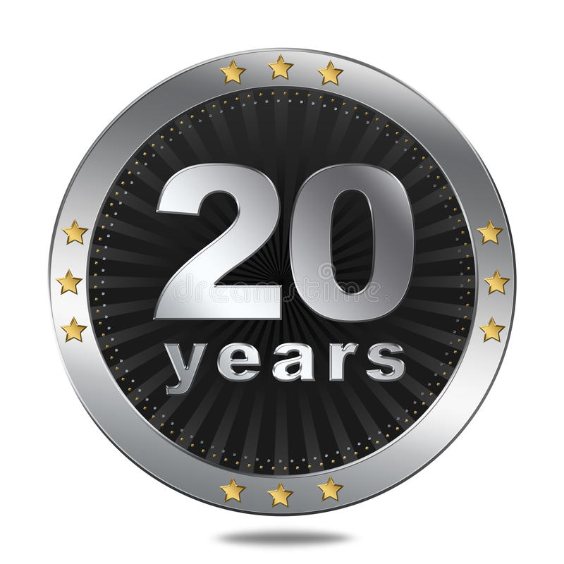 20 ans d'insigne d'anniversaire - couleur argentée illustration stock
