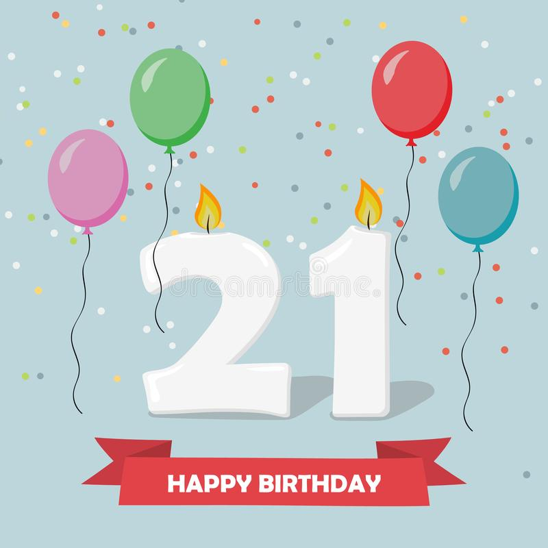 21 Ans De Celebration Carte De Voeux De Joyeux Anniversaire Illustration Stock Illustration Du Celebration Joyeux 108844177