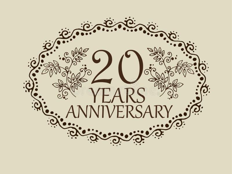 20 ans de carte d'anniversaire illustration de vecteur