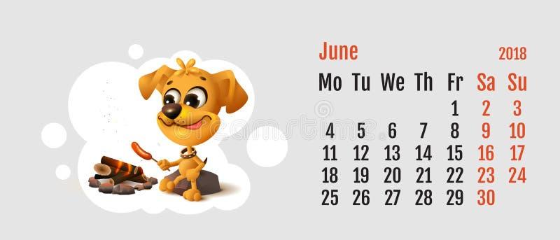 2018 ans de chien jaune sur le calendrier chinois Le chien jaune d'amusement fait frire la saucisse à l'enjeu du feu Mois juin de illustration libre de droits