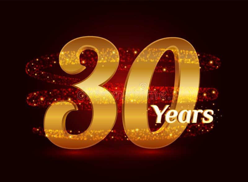 30 ans de l'anniversaire 3d de célébration d'or de logo avec les particules de scintillement éclatantes d'étoile de traînée en sp illustration stock