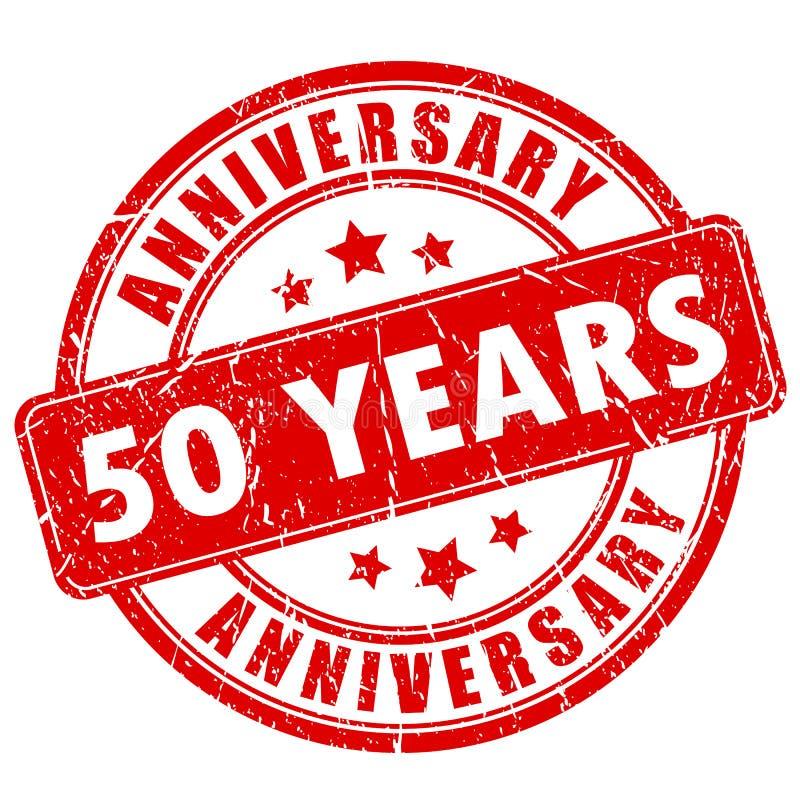 50 ans de tampon en caoutchouc d'anniversaire illustration stock