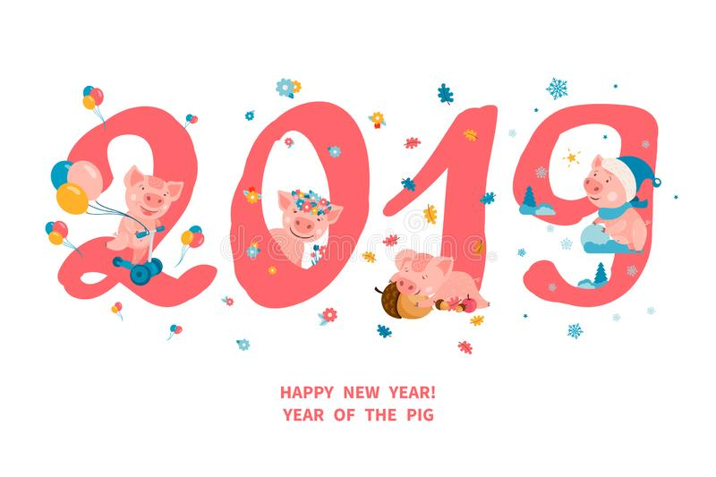 2019 ans du PORC illustration stock