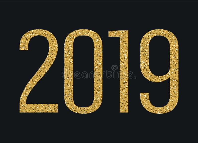 2019 ans Nombres de scintillement d'or Élément de conception de vecteur de vacances pour le calendrier, invitation de partie, car illustration libre de droits