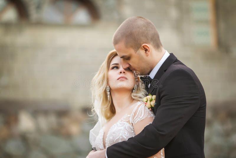 Ansa att omfamna bruden på bakgrunden av gammal byggnad arkivfoton