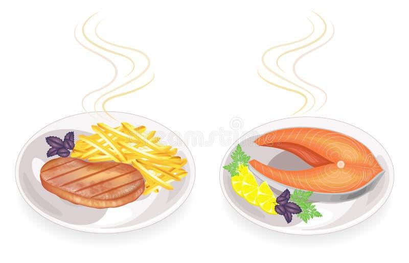 ansammlung Auf einer Platte des gebratenen Steakfleisches und -fische Garnierung briet Kartoffeln, Zitrone, Basilikumgrüns, Peter lizenzfreie abbildung